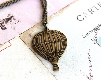 hot air balloon necklace. brass ox jewelry