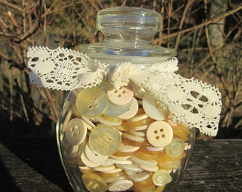 Jar of Vintage Buttons - White Buttons - Home Decor/ Crafting Supplies - CLEARANCE