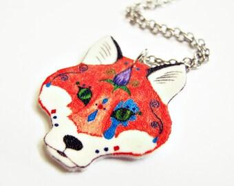 Fox Sugar Skull Day of the Dead Necklace