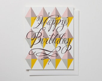 Happy BirthdayTriangles Notecard