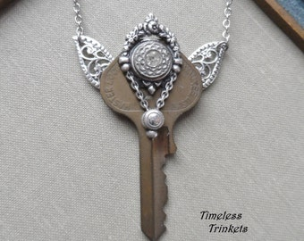 1/2 Price! Steampunk Clearance Sale- Steampunk Fairy Key Necklace with Antique Glass Button - Cassiopeia