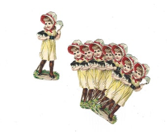Vintage German Die Cut Paper Scrap Girl Holding Bunny Rabbit Set of 8 Pieces Late 1800s Mint Condition