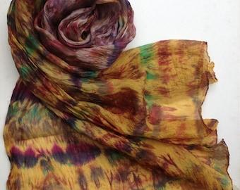 Hand dyed habotai silk shibori scarf wrap 220x50cm Giverny