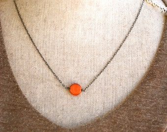 Bright orange coin necklace/ geometrical necklace /dot necklace/ oxidized sterling silver necklace.Tiedupmemories