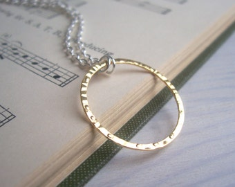 Gold and Silver Bubble necklace - mixed metals - simple hammered gold circle on silver - minimalist jewellery
