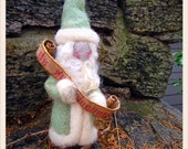 Needle felted Santa with personalized gift list with your child's name