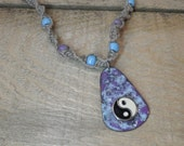 Hemp neccklace Copper enameled ying and yang / hemp necklace / purple and light blue