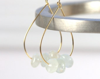 Aquamarine and Gold Teardrop Hoop Earrings, Gold Earrings, Gold Hoop Earrings, Aquamarine Gold Earrings [#910]