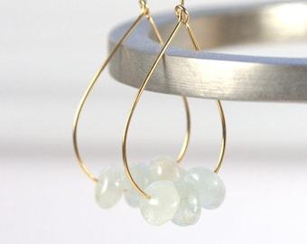 Aquamarine and Gold Teardrop Hoop Earrings, Gold Earrings, Gold Hoop Earrings, Aquamarine Gold Earrings [#910]