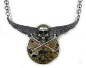 Steampunk Necklace Vintage Pocket Watch PiNSTRIPED GRUNGE Wings Silver SKULL Rocker Biker Mens Women Skull Jewelry - Steampunk by edmdesigns