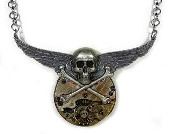 Steampunk Jewelry, Steampunk Necklace Pocket Watch PiNSTRIPE GRUNGE Wings Silver SKULL Rocker Biker Mens Burning Man - Jewelry by edmdesigns