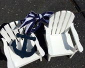The ORIGINAL 2 Mini Adirondack Chairs TM Decor Beach with Anchor Lake Ocean Rustic Wedding Personalized Any Color