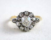 Reserved - do not buy: Antique Engagement Ring with est. 1.14cttw VS2 Cushion Cut or Mine Cut Diamonds in 18k Gold, c. 1830