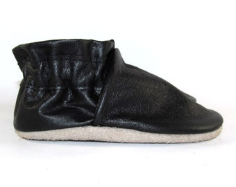 Soft Sole Black Leather Baby Shoes 6 to 12 Month Eco Friendly
