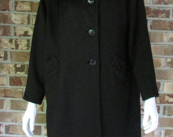 "Maurice Original Coat 1960's Black Swing Wool Coat by Maurice Original / Bust 42"""