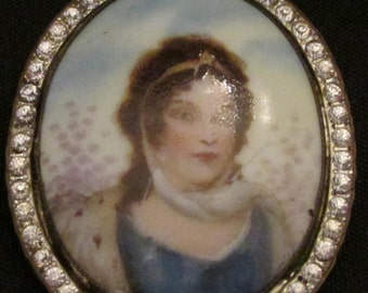 Antique Signed Czech Porcelain Brooch with Rhinestones and Potrait of Queen Louise of Prussia