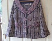 RESERVED FOR ANNE  Sleeping on Snow Sweater Purple Wine and Roses Geometric Wool Size Large