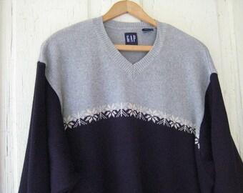 MENS CHRISTMAS Winter Holiday Sweater Snowy Ski Design XL