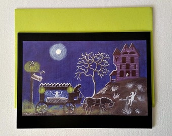 """Halloween frame-able greeting card """"The Last Ride"""""""