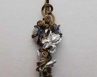 Iris Key Pendant -- Silver Iris Flower Wire Wrapped Key, Blue, Violet Swarovski Crystals, Antique Brass Wire