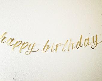 Cursive- Script- Happy Birthday Banner - Gold Satin Birthday Banner