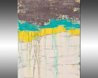 Lithosphere 106 - Art Painting, Original Abstract Art, Modern Art Painting, Abstract Canvas Wall Art, Turquoise, Yellow, White, Gray