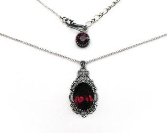 Burgundy Gothic Necklace Pendant Silver Filigree Dark Red Swarovski Victorian Gothic Jewelry romantic womens gothic gift