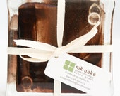 fused glass coasters. chocolate brown, transparent glass coasters. set of 4.