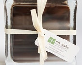 fused glass coasters. brown, white glass coasters. set of 4.