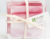 fused glass coasters. pink glass coasters. set of 4.