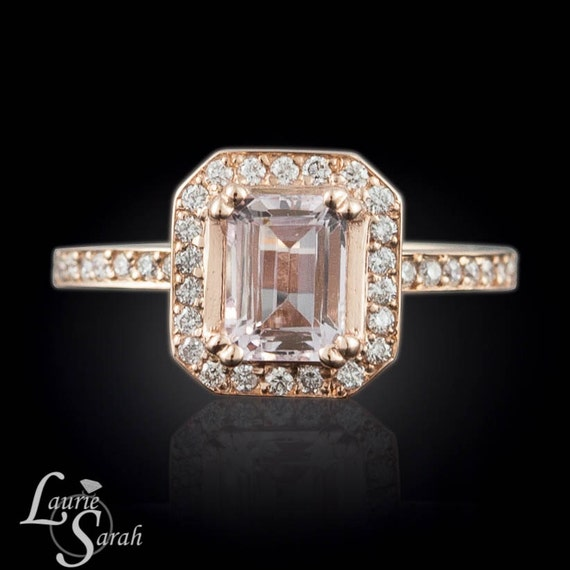 Morganite Ring, Emerald Cut Morganite Engagement Ring, Rose Gold Morganite Ring, Diamond Halo Morganite Ring - LS2279