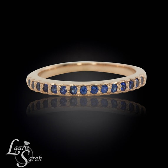 Sapphire Ring, 14k Rose Gold and Blue Sapphire Half Eternity Band - Prong Set - LS1387