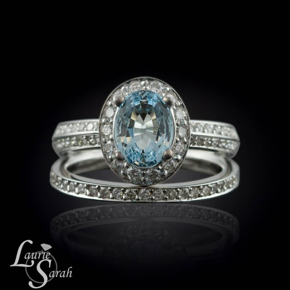 Aquamarine Engagement Ring Oval Aquamarine Wedding Ring Set
