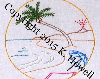 Beach Hand Embroidery Pattern, Scene, Coastal, View, PDF