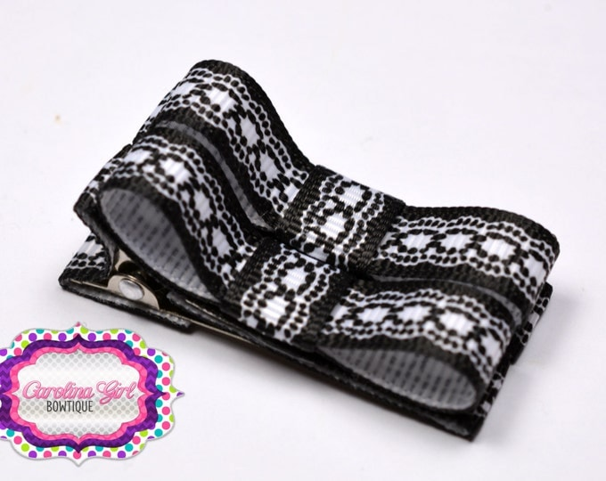 Black Lace Look Hair Clips Basic Tuxedo Clips Alligator Non Slip Barrettes for Babies Toddler Girl Set of 2