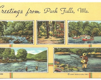Vintage 1920's -1950's  Linen Postcard Greetings from Park Falls, WIS