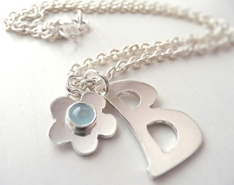 Initial and Birthstone Flower Necklace Sterling Silver by Stilosissima California