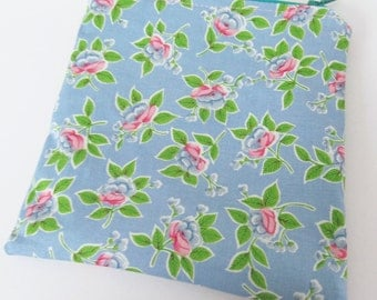 Zippered MINI WET BAG Blue Vintage Flowers - Purse sized 5.75 x 5.75  Free Shipping