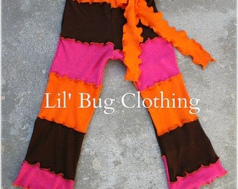 Fall Cocoa Hot Pink And Orange Comfy Knit Lettuce Edge Comfy Knit Stripped Leggings