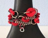"Fiberpunk™ Bracelet - Bright Red/Dark Red - Wrist Size 6"" - 7"" / Fiber Jewelry / Crochet Jewelry / Tatted Jewelry / Christmas Jewelry"