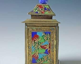 Vintage Chinese enameled brass lidded box canister caddy with bamboo motif