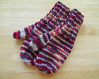 Child Wool Mittens Small Hand Knit Cranberry Dark Gray Cream Variegated