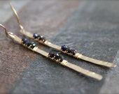 Stick Earrings. Hammered Gold and Black Spinel Twig Earrings. Long Gemstone Drop Earrings
