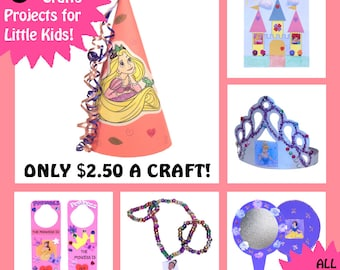 DISNEY PRINCESS CRAFTS - 6 Craft Kits for Little Kids - All Supplies Included! - Now with Rapunzel and Tiana!