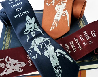 Sherlock Holmes Necktie - Hound of the Baskervilles Men's Tie, Book Tie, Sherlock Tie - Literary Gifts, Writer Gift