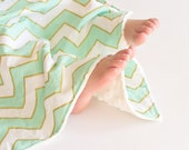 Baby Girl Minky Blanket Mint Green and Gold Chevron, Security Lovey