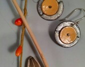 Pumpkin and Cream torch fired enamel earrings