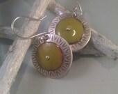 Sterling Silver with Green Enamel Earrings