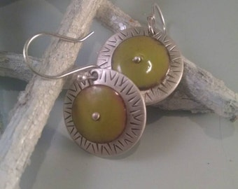 Sterling Silver with Green Enamel Earrings