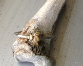 Bee Mine Bumble Bee Stacking Ring in Brass and Silver Size 7